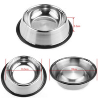 Wholesale travel dishes - Stainless Dog Bowl Pets Steel Standard Pet Dog bowls Puppy Cat Food or Drink Water Bowl Dish 77