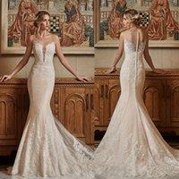 Wholesale Daria Wedding Dress - Sexy Mermaid 2017 Wedding Dresses Lace Applique Sheer Plunging Neckline Daria Karlozi Fishtail Bridal Gowns Plus Size Trumpet Wedding Dress