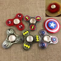 Wholesale Marvel Alliance - 2017 DC&Marvel heros Avengers Alliance Tri Spinner Fidget Toy Metal EDC Hand spinner Decompression Toys Rotating 3 Minutes Free DHL
