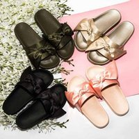 Wholesale Ladies Cute Sandals - Fashion Womens Cute Satin Bow Sliders Ladies Rubber Flats Sandals Slippers Moccasins