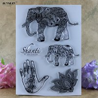 Wholesale Elephant Stamp - Wholesale- Elephant Hand Shanti Lotus Scrapbook DIY photo cards account rubber stamp clear stamp transparent stamp card Stamper 21.5*15.5CM
