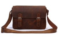 Atacado-Crazy Horse Couro Mens Ombro Messenger Bag Crossbody Bolsa Hot Sell # 6002B-1