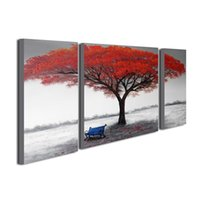Wholesale Red Tree Wall Art - 3 Pieces Red Tree Oil Painting Landscape Canvas Art Painting Modern Wall Decor Wood Frame Inside Ready to Hang