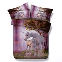 couvre-oreillers à imprimé animal achat en gros de-3D imprimé violet onirique Licorne ensembles de literie Twin Full Queen couvre-lits de taille taille housse de la couverture de la tonnelle oreiller Shams douillette cheval Animal
