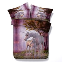 juegos de cama de doble tamaño caballo al por mayor-Conjuntos de ropa de cama de unicornio de ensueño púrpura impreso en 3D Twin Full Queen King Size Cubrecamas Conjuntos de funda de terciopelo Fundas de almohada Edredón Caballo Animal