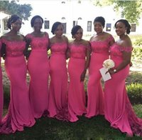 Wholesale bateau wedding dresses for sale for sale - Group buy Bright Fuchsia Mermaid Bridesmaid Dresses with Beaded Lace Bridesmaid Gowns Cap Sleeves Sheath Bateau Wedding Guest Dresses For Sale