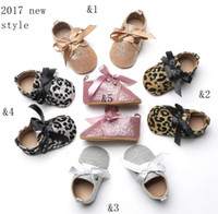 Wholesale Baby Prewalker Sports Shoes - 2017 baby sequins soft base school shoes 0-1 year shiny baby shoes Brown leopard silk casual sports princess shoes prewalker L274