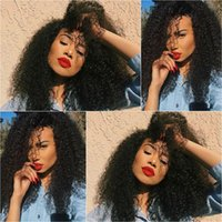 Wholesale Cheap Human Hair Afro Wigs - Afro Kinky Curly Human Hair Full Lace Wigs Kinky Curly Hair Glueless Lace Frontal Wigs Natural Cheap Hair Wigs