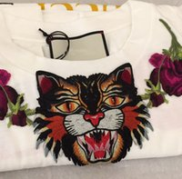 Wholesale Tiger T Shirt For Women - 2017 Blind For Love Embroidery Tiger Head T-Shirt Women Fashion Casual Short Sleeve Tops Tees T Shirts