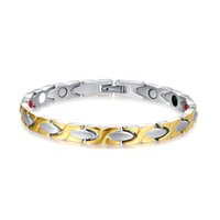 Wholesale Titanium Ionic Magnetic Bracelets - 2017 Magnetic Healing Stainless Steel Women Bracelet Gold Color Ionic Plating Charm Fashion Jewelry Bangle Gift B839S