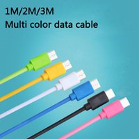 Wholesale Color 2m Iphone Cable - Color Data Cable 7 colors 1M 2M USB fast Charger Data Cable Sync Mobile Phone For Huawei Samsung iphone Xiaomi free shipping send by DHL