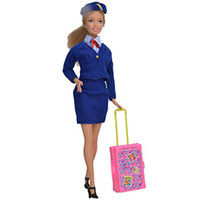 Wholesale Train Play House - Play House Pink Plastic 3D Travel Train Suitcase Luggage For Barbie Doll