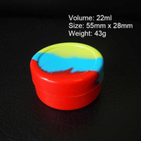 Wholesale Dry Silica Gel - 22ml Silicone Wax Containers Dab Round Jars Box 55mm*28mm Silica Gel Dabber Case Vape Oil Dry Herb E-Cigarette Vaporizer Holder FDA SGS Pass