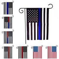 Wholesale 30 CM USA Police garden Flags flag Blue Red Line Thin Black White And Blue american us Flag home party decoration