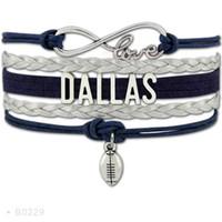 Wholesale Bracelets Brown Love - Infinity Love Dallas Hawks Charm Sports Bracelets For Women Men Jewelry Brown Black Wax Leather Wrap Bracelet