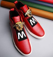 Wholesale Men Leopard Print Loafers - European Brand Casual Male Handmade Shoes men's loafers Shoes Fashion leopard head Sneakers Studnets Running Shoes Man High Top Shoe