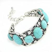 Wholesale Blue Copper Turquoise Bracelet - Wholesale- 2017 Vintage Turquoise Bracelets for Women Silver Chain Blue Boho Bohemian Bracelet with Stones Bohemian Jewelry Gift brtj34