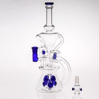 Wholesale Blown Glass Egg - Fab Egg In Stock Blue Water Pipes Dab Rig Beaker Two Function Glass Bongs Matched 8 Percolators Oil-Rigs Water Pipes Hand-Blown Hookah Pipes