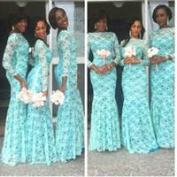 Wholesale Aqua Plus Size Dress - Elegant Aqua Blue African Bridesmaid Dress Long Sleeves Dubai Dresses Plus Size Lace Bateau Neckline Nigerian Bridesmaid Gowns