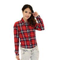 Wholesale Womens Plaid Shirt Xxl - S-XXL 2015 New Fashion Womens Tops Casual Blouse Turndown Collar Long Sleeve Plaids Shirt Free Shipping