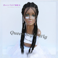 ingrosso trecce di capelli africani neri-2017 parrucca alla moda acconciatura 100% pura fatta a mano piena pizzo capelli intrecciati parrucca donna nera africana scatola intrecciare i capelli parrucche piene del merletto