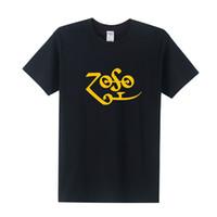 Wholesale Rock Metal Shirts - ZOSO Logo Printed Led Zeppelin T Shirt Men 2016 Summer Short Sleeve Cotton Punk Metal Rock Band T-shirt Tops Tee OT-067