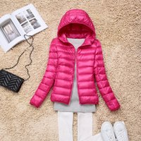 Wholesale Thin Down Jacket Hooded - new down jacket women's thin short hooded garment for autumn winter wear
