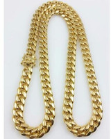 "Wholesale Curb 12mm - Men 18k Yellow Gold Stainless Steel 12mm 24"" Miami Cuban Curb Link Chain"