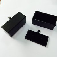 Wholesale Cufflink Boxes Wholesale - DHL Wholesale 120pcs lot Black Cufflink Box Cufflink Gift Case Holder Jewelry Packaging Boxes Organizer Black