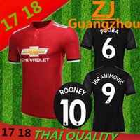 Wholesale Summer Flash - Top thai Quality 17 18 Manchesteres United home away jerseys 2017 Ibrahimovic MEMPHIS ROONEY POGBA jersey