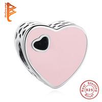 Wholesale Diy Sweets - BELAWANG 925 Sterling Silver Beads Pink Enamel Sweet Heart Charms Fit Pandora Bracelets&Bangles DIY Jewelry Wedding Valentine's Day Gift
