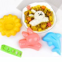 Wholesale Lunch Rabbit - 4 in 1 set Rabbit Style Dolphin Style Sunflower Rice Mold 4pcs Set Lunch Rice Ball Mould Sushi Tool Kitchen DIY Tools