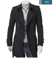 Wholesale Long Wool Overcoats For Men - Wholesale- Grey badges pea coats for men trench coat slim double breasted wool coat outerwear peacoat sobretudo masculino overcoat xxxl