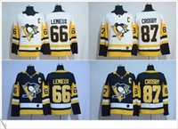 Wholesale Shirt Mario - 2017 New Style Pittsburgh Penguins #66 Mario Lemieux #87 Sidney Crosby Ice Hockey Sweater Shirts Embroidery Stitched Mens Sports Pro Jerseys