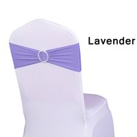 Wholesale Bow Stretch Ring - Chair Sash Bands Spandex 15X35cm Purple Stretch Lycra Chair Cover Sashes Bows with Diamond Ring for Weddings