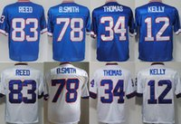 Throwback # 12 Jim Kelly 34 Thurman Thomas 78 Bruce Smith 83 Andre Reed Vintage Blu Bianco Maglia da calcio cucita Mix Ordini