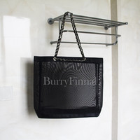 Women black nylon purse - famous brand black mesh shoulder bag net luxury handbag beauty clutch bag designer tote shopping beach purse boutique VIP gift