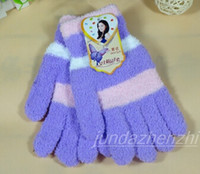 Wholesale Thermal Fingers Gloves Female - Wholesale- Free Shipping new fashion beauty color Sexy beautiful Thermal coral fleece winter five fingers gloves winter plush warm female