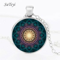 gold om pendants Canada - Fashion Glass Dome Necklace Buddhism Chakra Jewelry Bronze Plated with Om India Yoga Mandala Pendant Necklace For Unisex