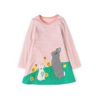 Wholesale Baby Horse Clothes - Everweekend Children Stripe Horse Floral Dress A-Line Sweet Children Fashion Holiday Clothing Cute Baby Autumn Dress