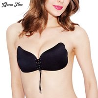 Wholesale Stick Appliques - Wholesale- Women Self Adhesive Strapless Bandage Blackless Solid Bra Stick Gel Silicone Push Up women's underwear Invisible Bra