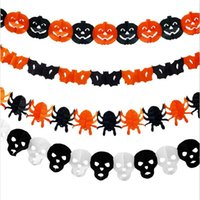 Wholesale Paper Chain Garland Party Banner Event Decorations Pumpkin Bat Witch Spider Skull Shape Halloween Banners Decor Garland