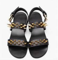 Wholesale Summer High Top Sandals - New Men Sandals Black Rome Shoes Gladiator Sandals High-Top Owen Shoes Rivet Slippers Slides Summer Men Sandals Shoes
