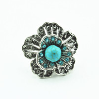 Wholesale Alloy Antique Rings Adjustable - R035 Flower Adjustable Crystal Turquoise Stone Ring 1PC Vintage look Antique Silver