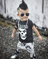 Wholesale Kids Skull Print Shorts - Kids outfit fashion toddler skull letter prnted short sleeve T-shirt+cartoon printed pants 2pc clothing sets INS boy cotton clothing T4151