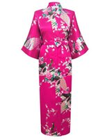 ingrosso cinture rosa calde per le donne-All'ingrosso- Rosa caldo Moda donna Peacock Kimono lungo accappatoio Camicia da notte Abito Yukata Accappatoio Sleepwear con cintura S M L XL XXL XXXL