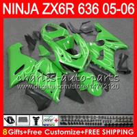 Wholesale Kawasaki Ninja 636 Body Kits - 8Gifts 23Colors kit For KAWASAKI NINJA ZX 636 ZX 6R 05-06 600CC 27NO36 Silver flames ZX-636 ZX-6R 2005 2006 ZX636 ZX6R 05 06 Fairing Body