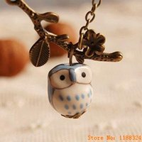 Wholesale Owl Accessories For Girls - Wholesale-Lovely Ceramic Twig Owl necklaces & pendants for Women 2015 Handmade colar vintage Jewelry Girl Accessories