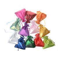 mini bolsas para joyeria al por mayor-Bolso de lazo al por mayor 10X12 CM Satén Mini Bolsas Anillos Collar Pequeñas joyas Bolsas de colores de la boda de regalo del favor del favor Bolsas de embalaje
