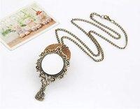 Wholesale Vintage Mirror Pendant - Wholesale- New Retro Magic Bronze Vintage Mirror Carve Pattern Chain Necklace Pendant Lady